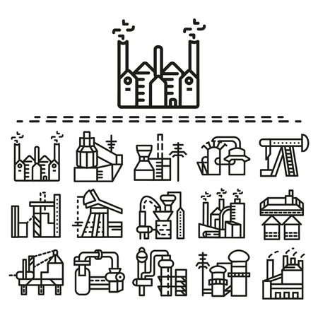 factory: Set of black flat line icons for factories. Oil extraction, production, manufacture, towers, industrial and other samples for business Illustration