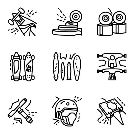 extreme sports: Set of black flat simple line icons for long boards and extreme sports. Skateboard, accessories, wheels, helmet, suspension. For business and website Illustration