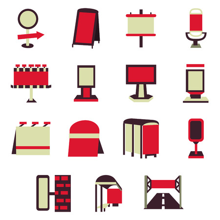 Set of red flat simple icons for blank outdoor advertising constructions. Billboards, signs, advertising on bus stops and other elements for business and website