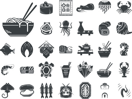 food fish: Set of black silhouette stylish icons for seafood and Japanese food. Sushi set, serving, fish, shellfish, exotic food and other for business and website Illustration