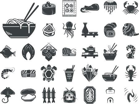 Set van zwarte silhouet stylish iconen voor zeevruchten en Japanse gerechten. Sushi set, serveren, vis, schaaldieren, exotische gerechten en andere voor het bedrijfsleven en website