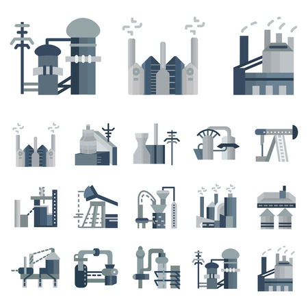 pollutants: Set of flat gray icons for plants and factories. Oil extraction, manufacture, towers, industrial crane for business and website