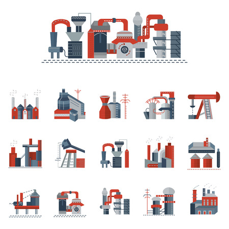 industry: Set of red and gray flat icons for industrial building factory and power plants. Heavy industry, petrochemical industry, metallurgy and other factories for business and website