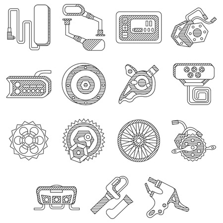 sprocket: Set of black flat line icons of parts and accessories for electric bike. Wheel, motor, sprocket, control panel, recharged battery and other elements for business and website Illustration