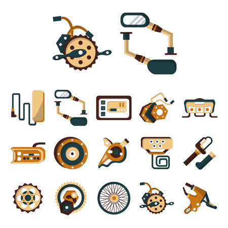 Set of flat color design icons of parts and accessories for electric bike. Wheel, motor, sprocket, control panel, charger battery and other elements for business and website
