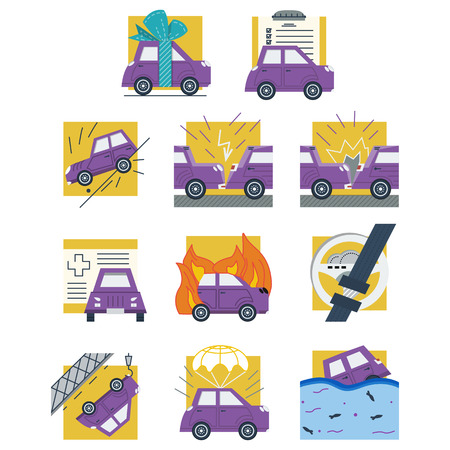 gift accident: Set of flat color design icons for car insurance. Documents, accident, crash, broken and other samples for insurance company
