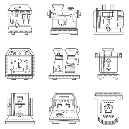 restaurant icons: Set of flat line design icons for cafe and restaurant equipment. Professional coffee maker machines, automatic, with coffee mill and others elements for fragrant and tasty coffee beverages