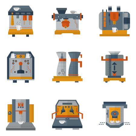 coffee machines: Set of flat color design icons for cafe and restaurant equipment. Electrical coffee machines with automatic system for preparing fragrant and tasty coffee beverages Illustration