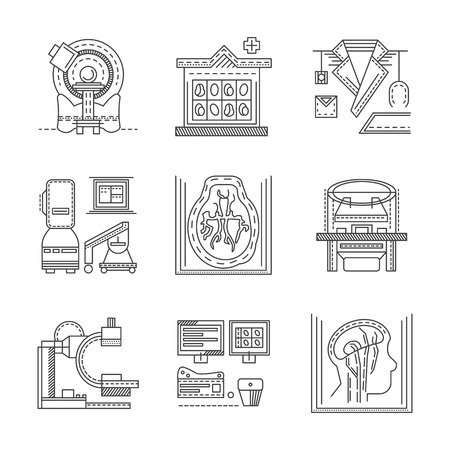 Flat black line design icons for medical research. MRI, CT scan, MRI equipment, brain imaging and other elements for your website Ilustração