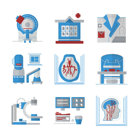 Set of colored flat design icons for medical research. MRI, CT scan, MRI equipment, brain imaging and other elements for your website Çizim