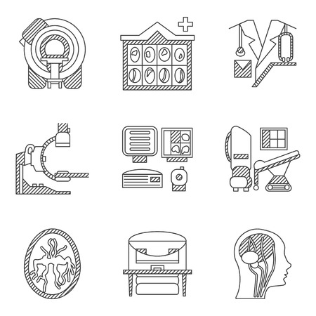 xray machine: Flat line icons collection for MRI research. CT scan, MRI equipment, brain scan and other elements for your website