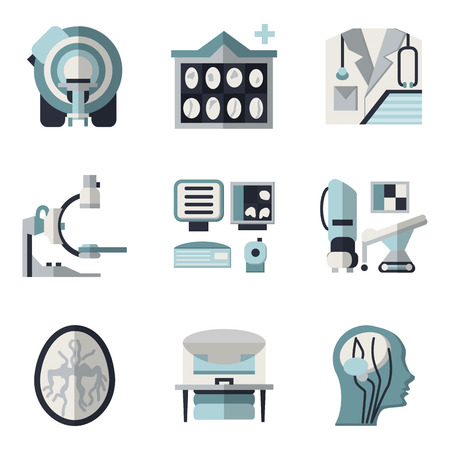 xray machine: Flat color design icons collection for MRI research elements. CT scan, MRI equipment, brain scan and other for your website Illustration