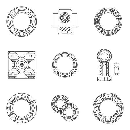 friction: Flat line design icons for set of different types bearings. Ball, radial, roller and other types bearings for mechanism components Illustration