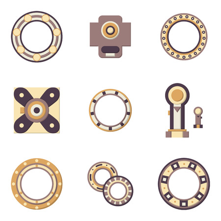 rotating parts: Flat color design icons for set of different types bearings. Ball, radial, roller and other types bearings for mechanism components Illustration