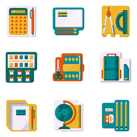 Set of flat color icons for school utensils school bag ruler flat color design icons set for school supplies and office paint globe pen voltagebd Images