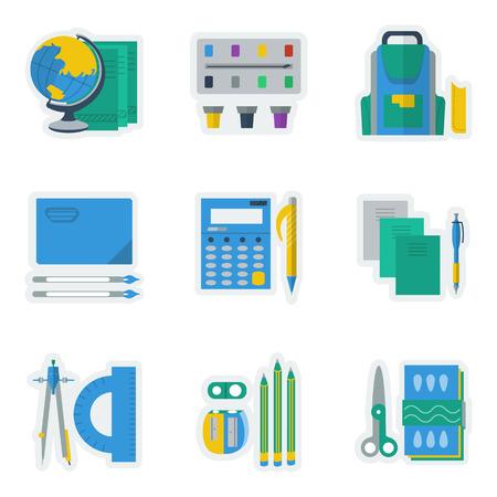 Conjunto De Iconos De Colores Planos Para Artículos Escolares. Pluma ...