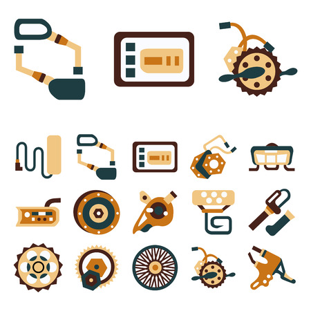 sprocket: Flat color design icons of parts and accessories for electric bike. Wheel, motor, sprocket, control panel, recharged battery and other elements for business and website