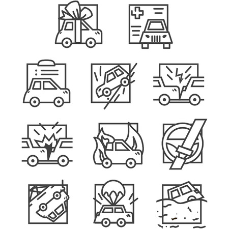 gift accident: Set of simple black line design icons for car insurance. Documents, accident, crash, broken and sample other cases provided for in the insurance