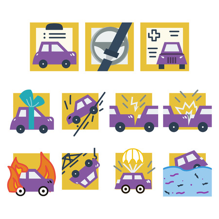 broken contract: Simple flat yellow and purple icons for car insurance. Documents, accident, crash, broken and sample other cases provided for in the insurance Illustration