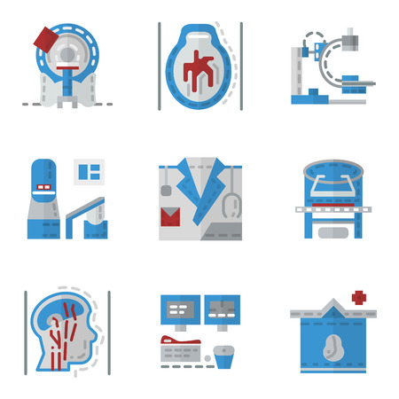 Simple flat color icons for medical research. MRI, CT scan, MRI equipment, brain imaging and other elements for your website