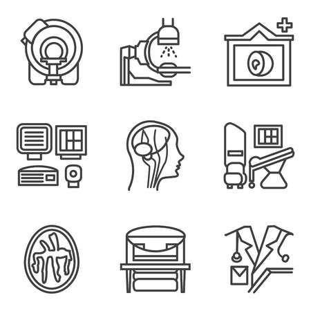 imaging: Simple flat black line icons for medical research. MRI, CT scan, MRI equipment, brain imaging and other elements for your website Illustration