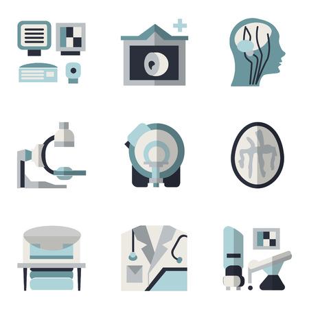 De color azul y negro iconos de estilo plana simples para la investigación médica. Resonancia magnética, tomografía computarizada, equipos de resonancia magnética, imágenes del cerebro y otros elementos de su sitio web Ilustración de vector