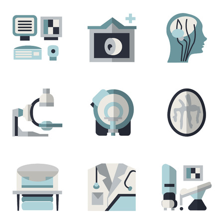 imaging: Simple blue and black color flat style icons for medical research. MRI, CT scan, MRI equipment, brain imaging and other elements for your website Illustration