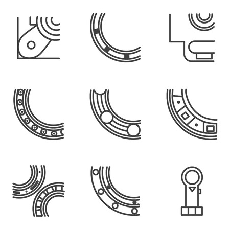 bearings: Abstract simple line design icons for set of parts of bearings. Ball, radial, roller and other types bearings for mechanism components