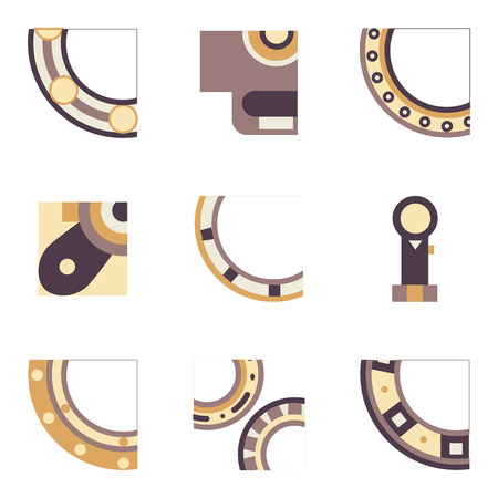 quarter: Abstract simple flat color design icons for set of quarter parts of bearings. Ball, radial, roller and other types bearings for mechanism components