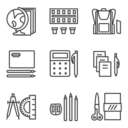 Simple line icons collection for school subjects. Mathematics, geography, drawing and other lessons for website or mobile app Illustration