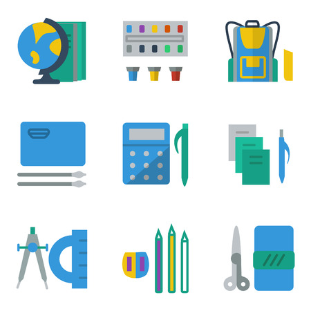 mobile accessories: Set of simple colored icons for school accessories. Materials for drawing, math, geography lessons for website or mobile app