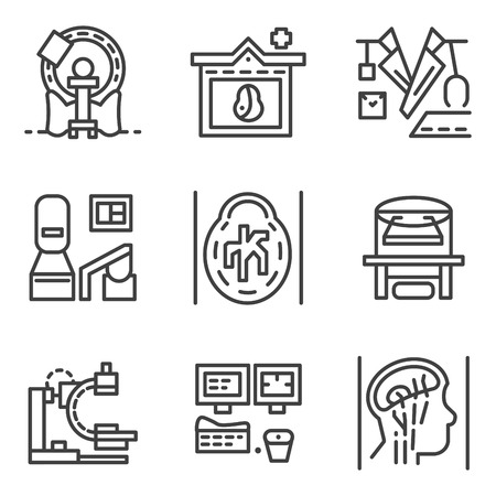 xray machine: Set of flat simple line icons for medical research. MRI, CT scan, MRI equipment, brain imaging and other elements for your website Illustration
