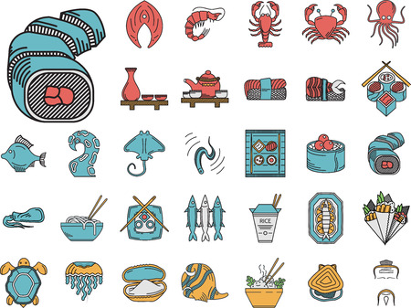restaurant icons: Set of 32 flat color icons with black contour for Asian or Japanese restaurant. Sushi rolls, traditional drinks, prepared fish, rice dish and other seafood menu elements for business or website