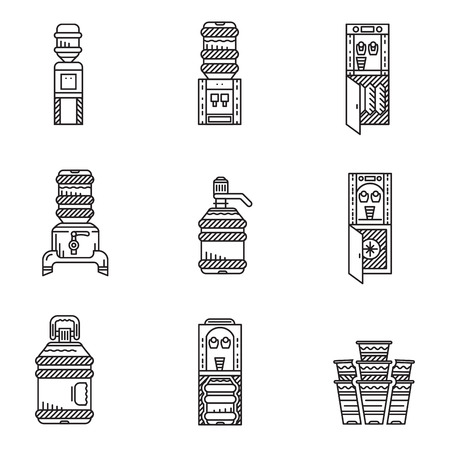 water jug: Set of black line icons for water cooler equipment. Water cooler, purifier, water jug, plastic bottles for office, home and business. Illustration