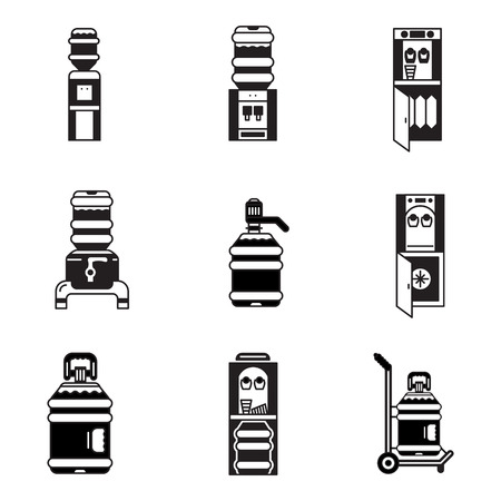 Black contour icons for water cooler elements. Electric water cooler, purifier, water delivery, plastic bottles for office, home and business. Illustration