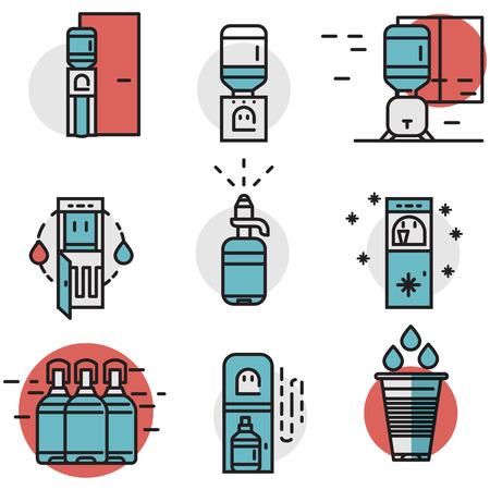 平らな線は、ウォーター クーラー機と供給の青と赤のアイコンをデザインします。飲用水配達、浄水器、オフィス、自宅用の電気クーラーとビジネ  イラスト・ベクター素材