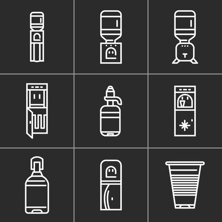 黒の背景上に水クーラー機器の単純な白線アイコンのセットです。電気水クーラー、清浄機、ビジネス、オフィス、家庭向けにペットボトルを水配  イラスト・ベクター素材