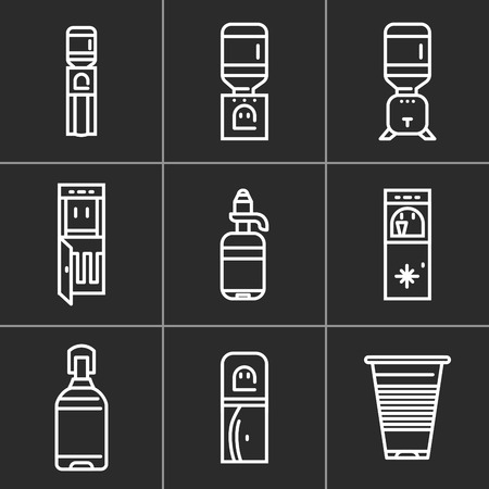 distilled: Set of white simple line icons for water cooler equipment on black background. Electric water cooler, purifier, water delivery, plastic bottles for office, home and business.