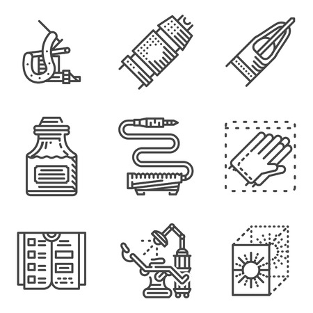 business administration: Black flat line style icons for element for tattoo parlor. Tattoo equipment and accessories, chair, administration, sterilization equipment and other elements for business or website