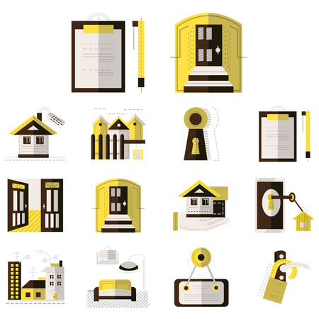 for rental: Set of brown and yellow flat style icons for rental of property. House, documents, sale, exterior and other elements of rental for business and website Illustration