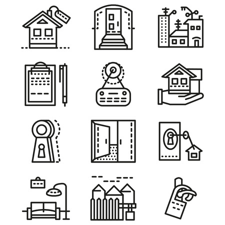 property: Set of flat line design icons for rental of property. House interior and exterior, rental agreement and other elements of rental for business and website