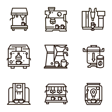 dispensing: Set of black line icons for coffee machines. Selling of equipments for cafe, restaurants and cafeteria for business and website Illustration