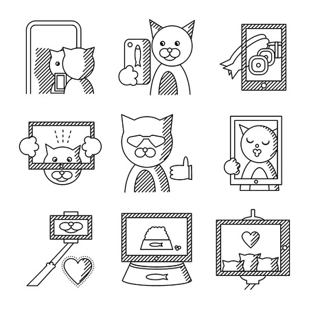 modern lifestyle: Set of black line icons for selfie lifestyle. Modern lifestyle with selfie, life moments photo and other for website or mobile app