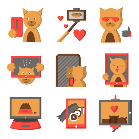 modern lifestyle: Colored stylish flat icons collection for cat selfie lifestyle. Selfie fashion, modern lifestyle, life moments and other photo ideas for website or mobile app