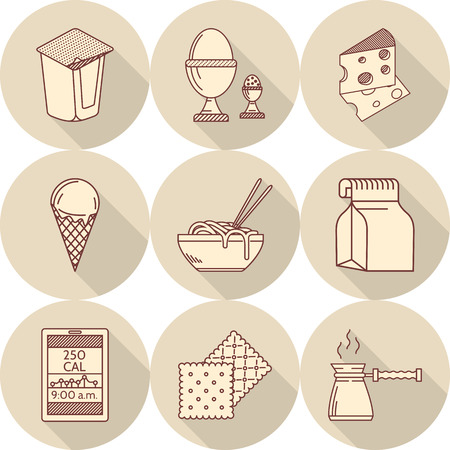 Set of round beige flat icons with brown line food with long shadows. Dairy, boiled eggs, coffee pot, lunch pack and other elements for menu Illustration