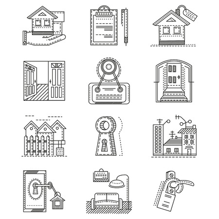 for rental: Set of black flat line icons for rental of property. House, documents, sale, exterior and other elements of rental for business and website