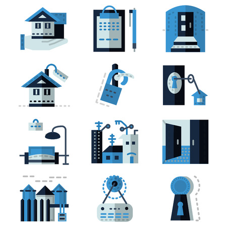 for rental: Set of blue flat design icons for rental of property. House, documents, sale, exterior and other elements of rental for business and website