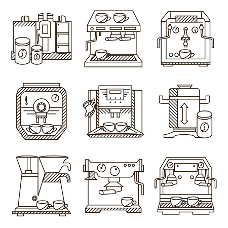 coffee machines: Set of flat line icons for coffee machines. Selling of equipments for cafe, restaurants and cafeteria for business and website