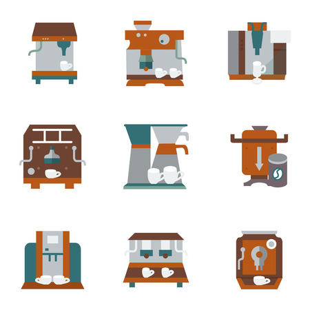 coffee machines: Flat color design icons collection for coffee making equipment. Coffee machines, coffee utensils, beans grinders and other objects for business and website