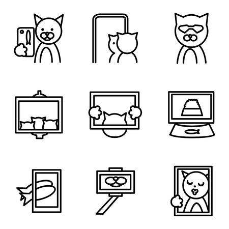 Set of flat line icons for elements of fashion trend photo. Mobile app for photos and selfie for business or website Illustration